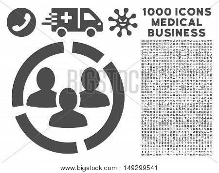 Gray Demography Diagram icon with 1000 medical business glyph pictograms. Set style is flat symbols, gray color, white background.