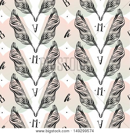 Hand drawn vector abstract artistic textured seamless pattern with graphic lined palm leaves and handwritten modern letters in pastel colors isolated on white background.Tropical palm tree leaves.