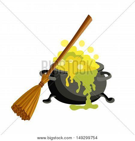 Magic pot vector illustration isolated on white background.