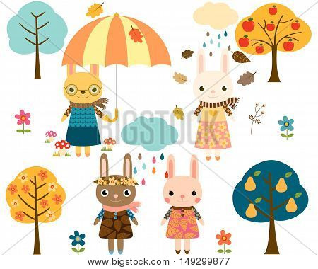 Cute Fall Bunnies with Trees, Rain Clouds and an Umbrella