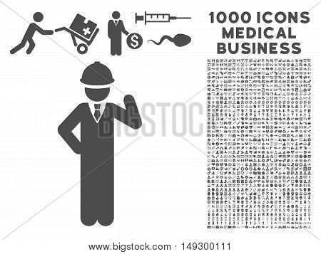 Gray Engineer icon with 1000 medical business glyph design elements. Collection style is flat symbols, gray color, white background.