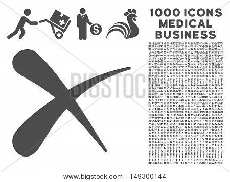 Gray Erase icon with 1000 medical business glyph design elements. Set style is flat symbols, gray color, white background.
