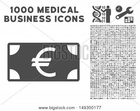 Gray Euro Banknote icon with 1000 medical business glyph pictographs. Design style is flat symbols, gray color, white background.