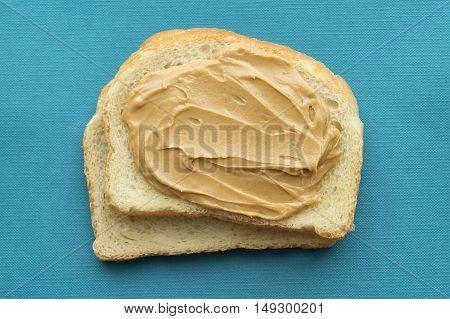 Peanut butter sandwich top view. American breakfast