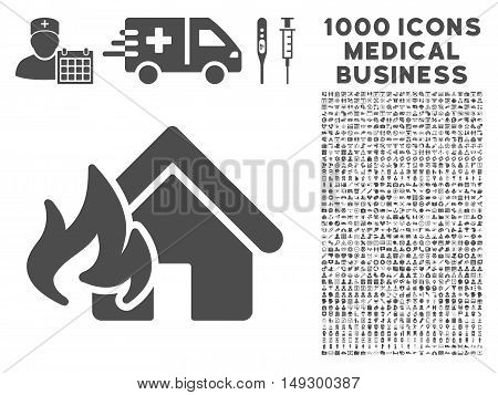 Gray Fire Damage icon with 1000 medical business glyph design elements. Set style is flat symbols, gray color, white background.