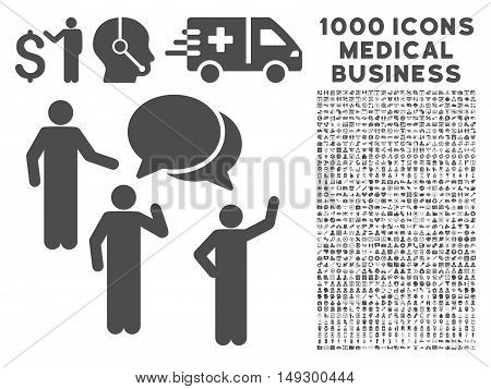 Gray Forum icon with 1000 medical business glyph pictographs. Set style is flat symbols, gray color, white background.