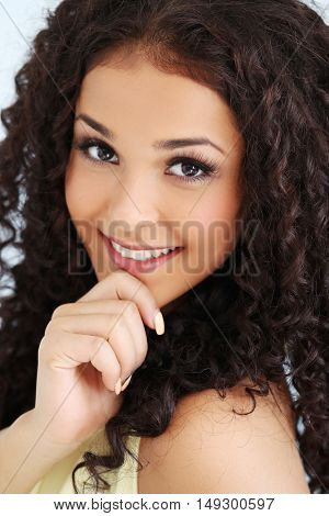 Lovely woman with curly hair