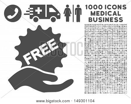 Gray Free Present icon with 1000 medical business glyph design elements. Set style is flat symbols, gray color, white background.