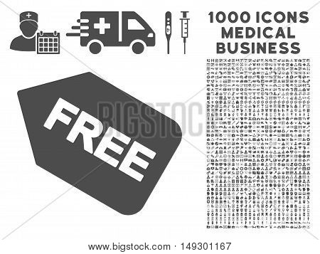 Gray Free Sticker icon with 1000 medical business glyph pictographs. Collection style is flat symbols, gray color, white background.