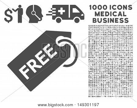 Gray Free Tag icon with 1000 medical business glyph pictographs. Set style is flat symbols, gray color, white background.
