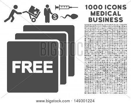 Gray Free icon with 1000 medical business glyph pictograms. Collection style is flat symbols, gray color, white background.