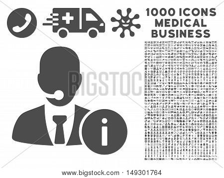 Gray Help Desk icon with 1000 medical business glyph design elements. Set style is flat symbols, gray color, white background.