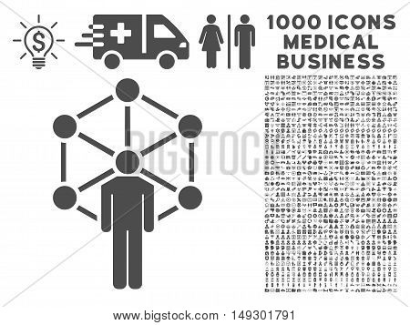Gray Human Network icon with 1000 medical business glyph design elements. Set style is flat symbols, gray color, white background.
