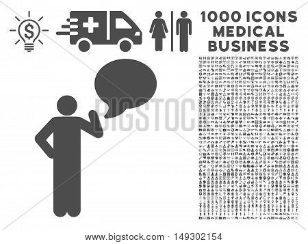 Gray Man Idea Balloon icon with 1000 medical business glyph pictographs. Collection style is flat symbols, gray color, white background.
