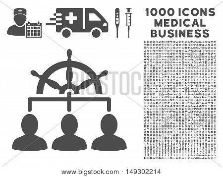 Gray Management icon with 1000 medical business glyph pictographs. Design style is flat symbols, gray color, white background.