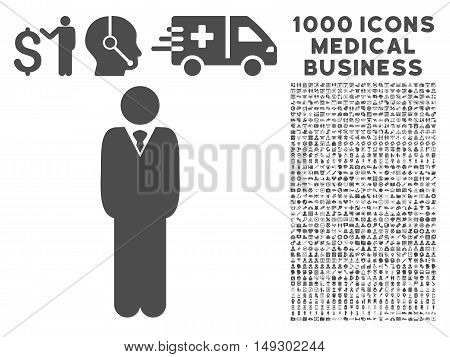 Gray Manager icon with 1000 medical business glyph pictograms. Set style is flat symbols, gray color, white background.