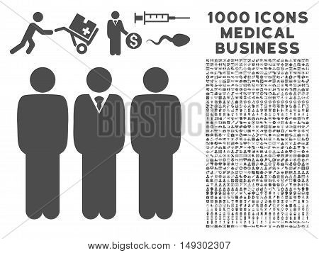 Gray Managers icon with 1000 medical business glyph pictographs. Set style is flat symbols, gray color, white background.
