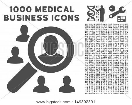Gray Marketing icon with 1000 medical business glyph pictograms. Set style is flat symbols, gray color, white background.