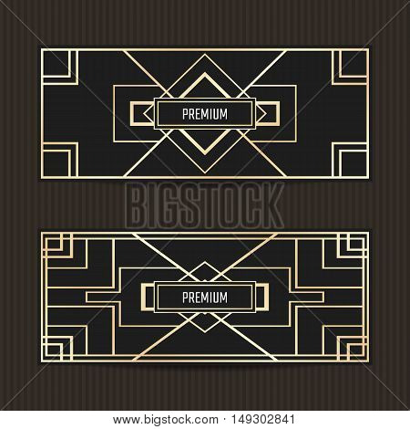 Set of two gift vouchers in Art Deco style. Gift card template.