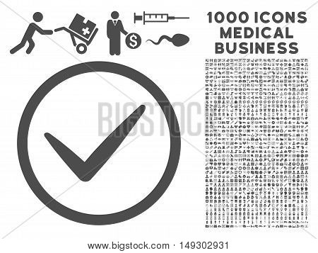 Gray Ok icon with 1000 medical business glyph pictograms. Design style is flat symbols, gray color, white background.