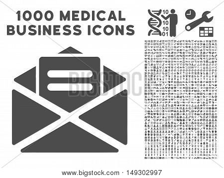 Gray Open Mail icon with 1000 medical business glyph pictograms. Collection style is flat symbols, gray color, white background.
