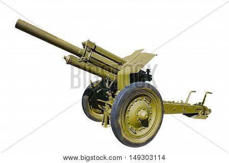 Soviet 122 mm howitzer M1938 (M-30) from period World War II. Front view isolated on white background