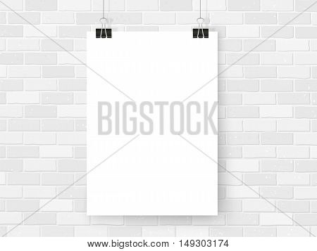 Poster mockup on binder clips on white brick wall. Modern poster template mock up. Empty simple vector for your illustrations drawings paintings quotes or photos.