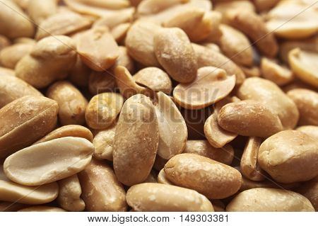 Close up picture of a bunch of peanuts