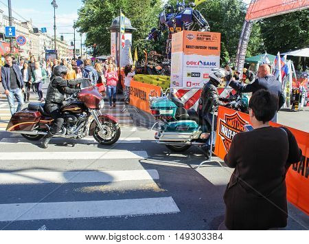St. Petersburg, Russia - 12 August, Bikers who came to the festival,12 August, 2016. The annual International Festival of Motor Harley Davidson in St. Petersburg Ostrovsky Square.