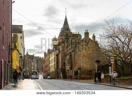 EDINBURGH, SCOTLAND - CIRCA NOVEMBER 2012: The lower part of the Royal Mile. The Royal Mile leads from the Castle to the Palace of Holyroodhouse.
