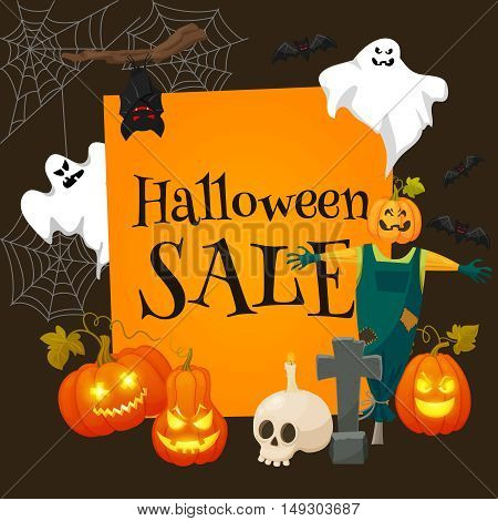 Halloween sale offer design template.Sale background with effigy, ghosts, skull, pumpkins and other traditional symbols of Halloween. Retro cartoon style vector illustration