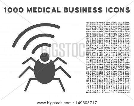Gray Radio Spy Bug icon with 1000 medical business glyph pictographs. Collection style is flat symbols, gray color, white background.