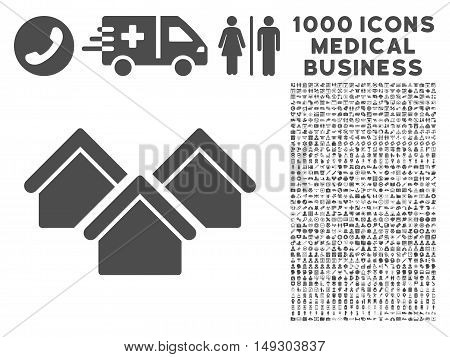 Gray Real Estate icon with 1000 medical business glyph pictograms. Collection style is flat symbols, gray color, white background.