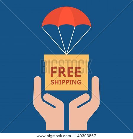 delivery service concept illustration vector, parcel with parachute for shipping in hand, Free shipping headline flat design vector
