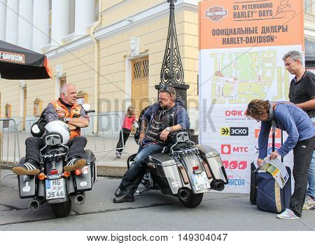 St. Petersburg, Russia - 12 August, Bikers from Germany,12 August, 2016. The annual International Festival of Motor Harley Davidson in St. Petersburg Ostrovsky Square.