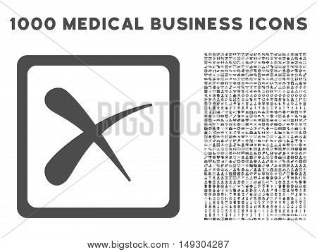 Gray Reject icon with 1000 medical business glyph pictographs. Collection style is flat symbols, gray color, white background.
