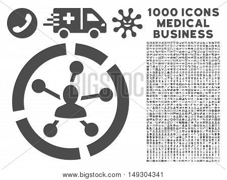 Gray Relations Diagram icon with 1000 medical business glyph pictograms. Collection style is flat symbols, gray color, white background.