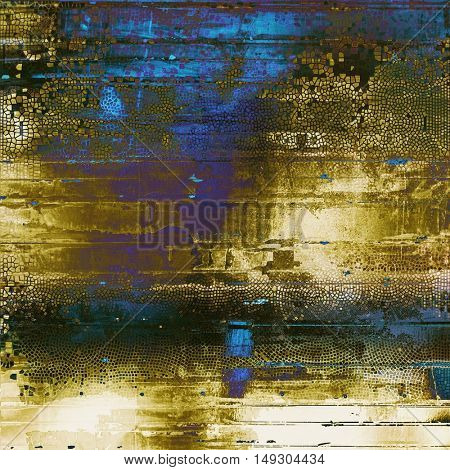 Vintage background in scrap-booking style, faded grunge texture with different color patterns: yellow (beige); brown; gray; blue; purple (violet); black