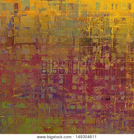 Old grunge vintage background or shabby texture with different color patterns: yellow (beige); brown; green; red (orange); purple (violet); pink