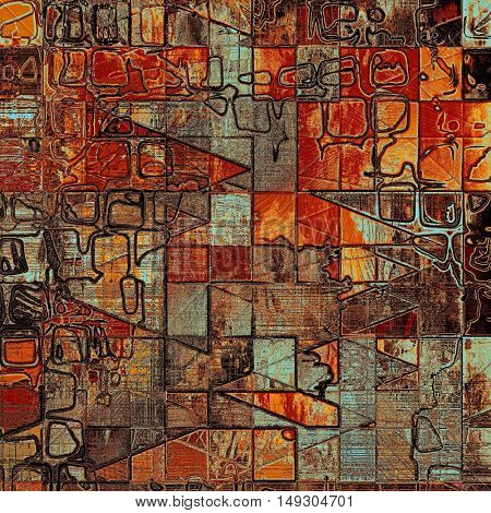 Geometric old style design, textured grunge background with different color patterns: yellow (beige); brown; gray; blue; red (orange)