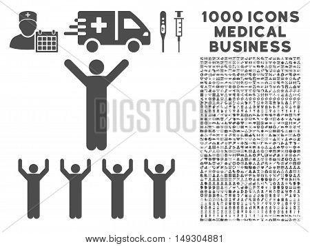 Gray Religion icon with 1000 medical business glyph pictographs. Set style is flat symbols, gray color, white background.