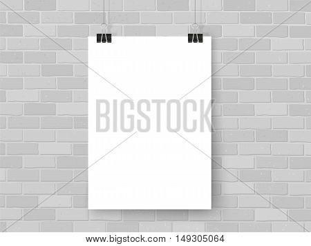 Poster On Binder Clips Mockup Light Grey Brick Wall
