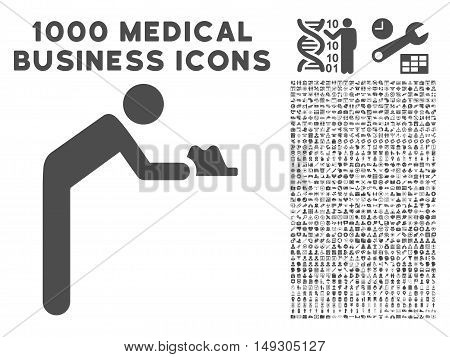 Gray Servant icon with 1000 medical business glyph design elements. Design style is flat symbols, gray color, white background.