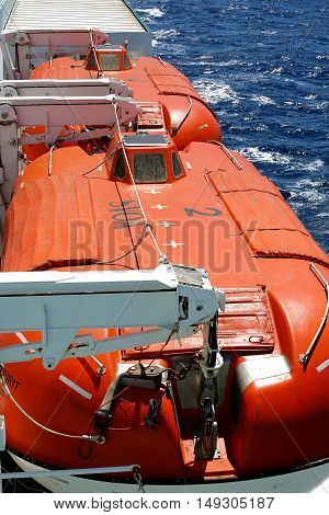 Igoumenitsa Greece - August 3 2016: Safety Lifeboats on Deck of a Hellenic Spirit Ferry of Anek Company. Anek Lines Is The Largest Passenger Shipping Company In Greece