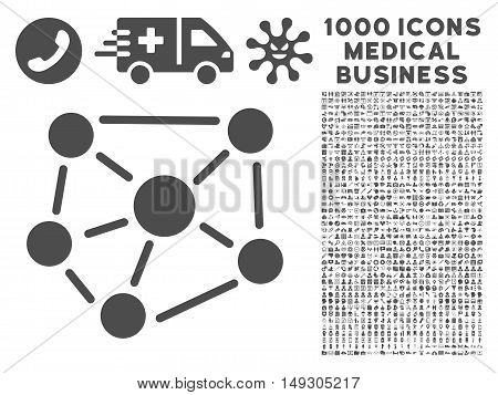 Gray Social Graph icon with 1000 medical business glyph pictographs. Design style is flat symbols, gray color, white background.