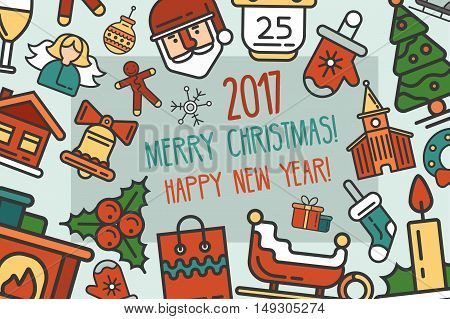 Merry Christmas and Happy New Year flat design modern vector greeting card illustration with Santa Claus, elf, X-Mas tree, mistletoe and other holiday symbols