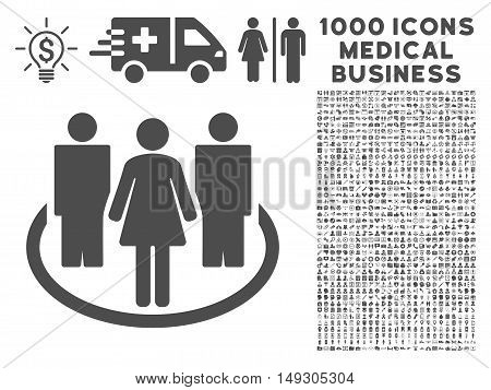 Gray Society icon with 1000 medical business glyph pictographs. Design style is flat symbols, gray color, white background.