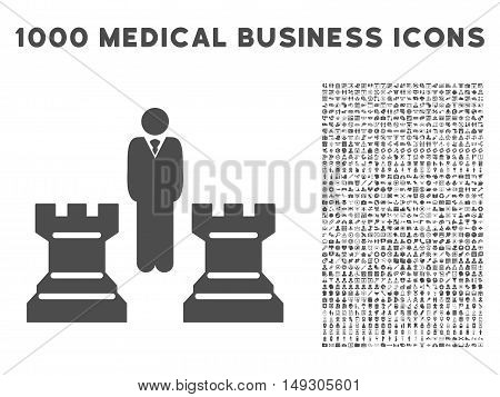 Gray Strategy icon with 1000 medical business glyph design elements. Set style is flat symbols, gray color, white background.