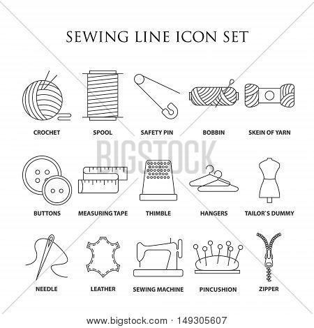 Sewing icons. Embroidery equipment. Bobbin, safety pin, needle, zipper, pincushion and other things for stitching. Line art vector illustration.