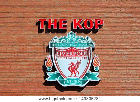 LIVERPOOL UK, 17TH SEPTEMBER 2016. Liverpool Football Club's crest, on the Kop entrance to the stadium.